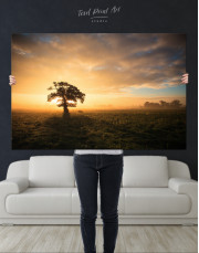Tree Sunset Nature Canvas Wall Art - Image 1