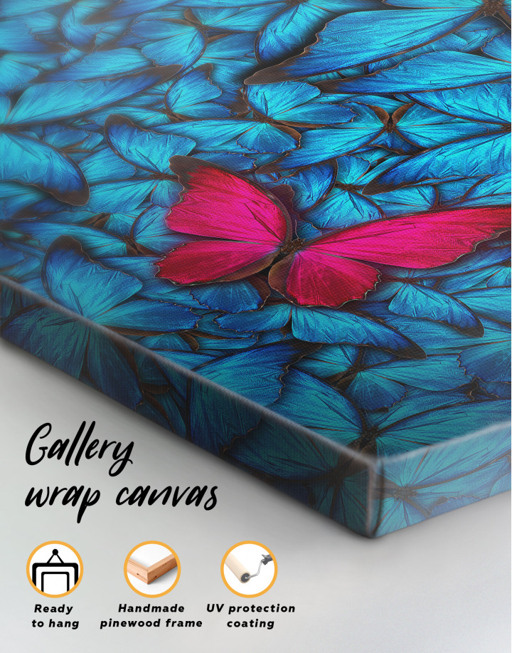 Blue and Purple Butterfly Canvas Wall Art - Image 1