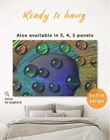 Close Up Peacock Feather Canvas Wall Art