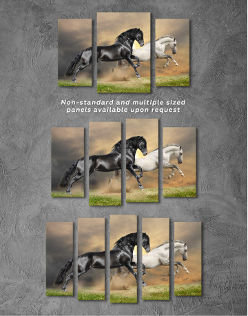 Black and White Running Horses Canvas Wall Art - image 3