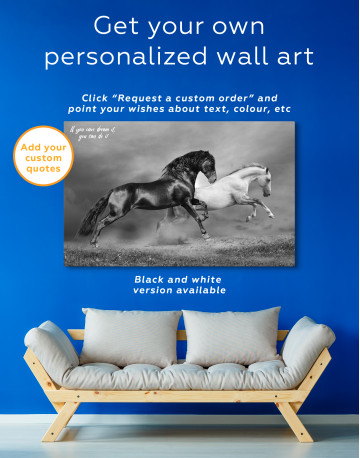 Black and White Running Horses Canvas Wall Art - image 4