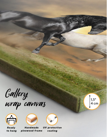 Black and White Running Horses Canvas Wall Art - image 1