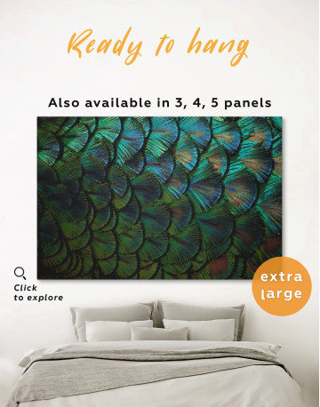 Blue and Green Peacock Feather Canvas Wall Art