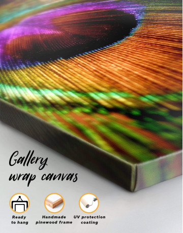 Colorful Peacock Feather Canvas Wall Art - image 3