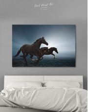 Black Running Horses Canvas Wall Art - Image 1