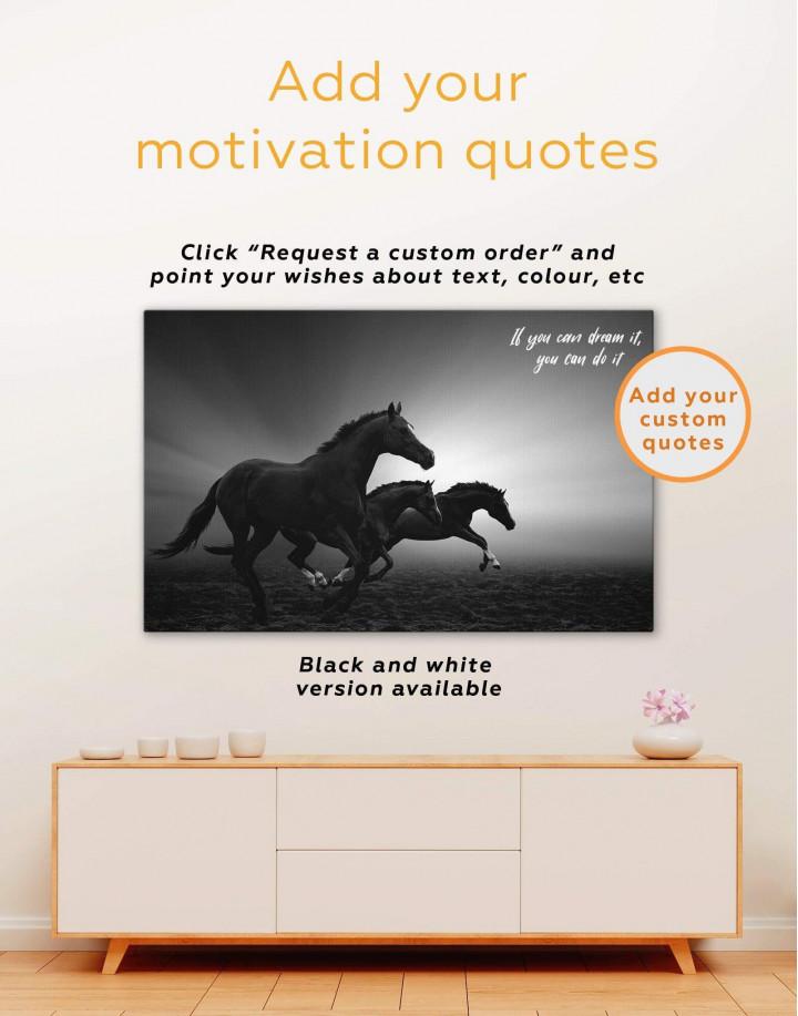 Black Running Horses Canvas Wall Art - Image 6