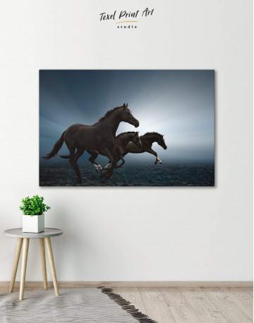 Black Running Horses Canvas Wall Art