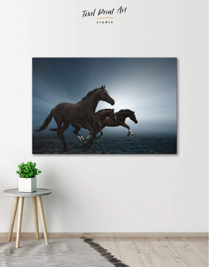 Black Running Horses Canvas Wall Art - Image 0