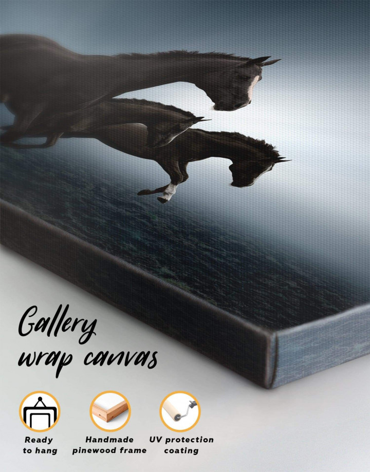 Black Running Horses Canvas Wall Art - Image 3