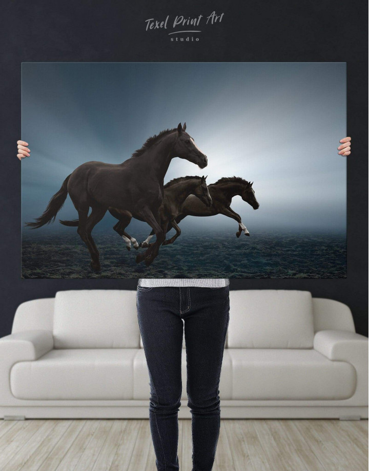 Black Running Horses Canvas Wall Art - Image 2