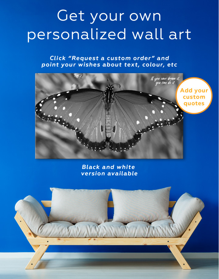 Butterfly with Spread Wings Canvas Wall Art - Image 4
