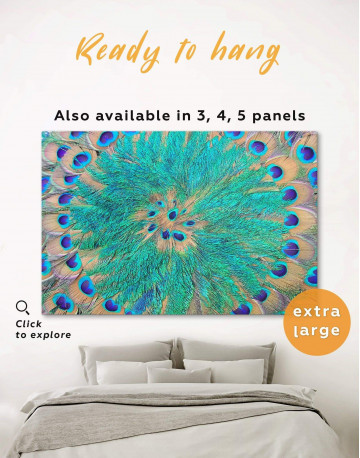 Abstract Peacock Teal Feathers Canvas Wall Art