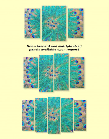 Abstract Peacock Teal Feathers Canvas Wall Art - image 1