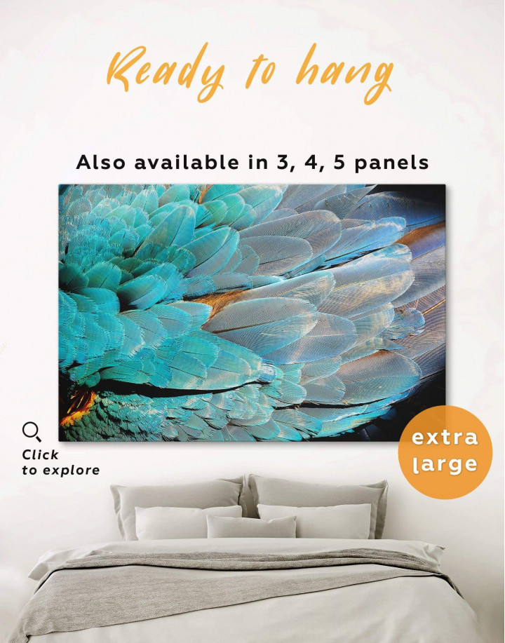 Blue Bird's Feather Canvas Wall Art - Image 0