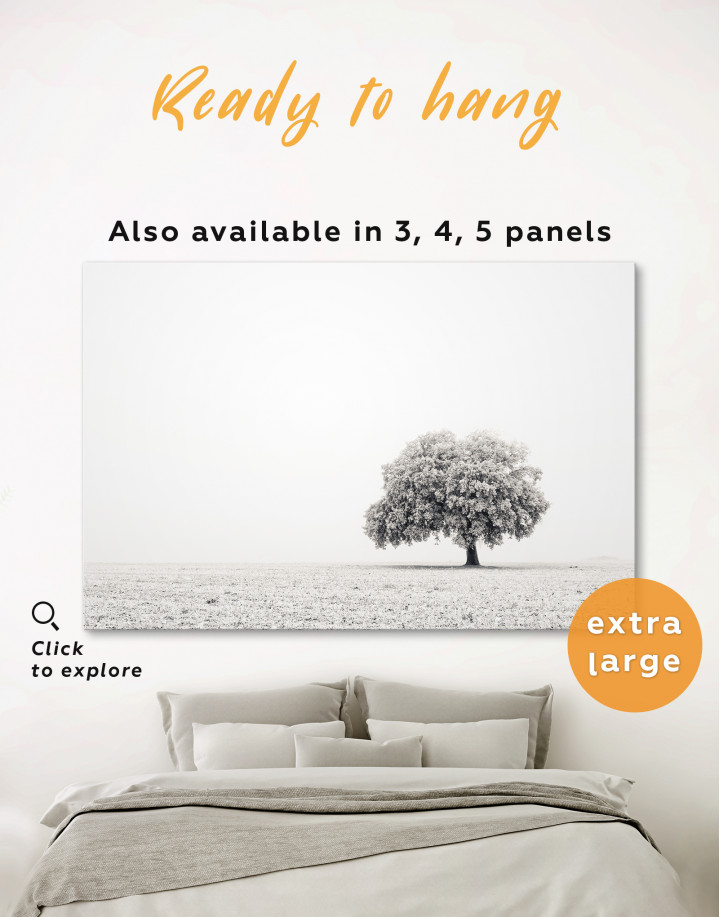 Black and White Lonely Tree Canvas Wall Art