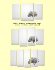 Black and White Lonely Tree Canvas Wall Art - Image 3