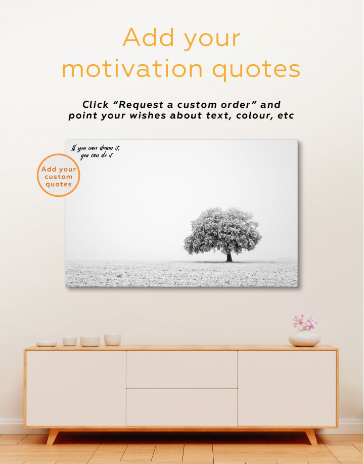 Black and White Lonely Tree Canvas Wall Art - Image 4