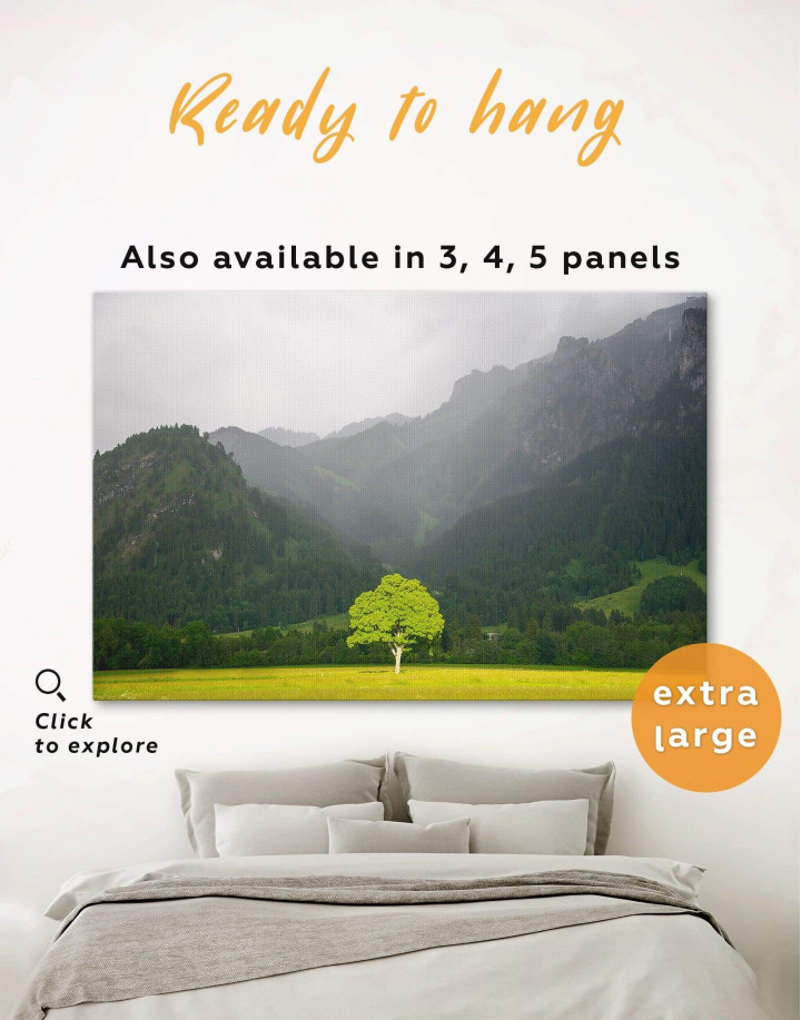 Green Tree in Mountain Forest Canvas Wall Art - Image 0