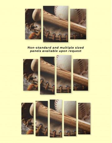 Baseball Bat and Glove Canvas Wall Art - image 3