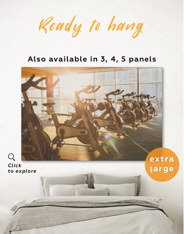 Exercise Bike in Gym Canvas Wall Art