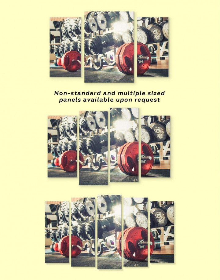 Barbell Gym Canvas Wall Art - Image 1