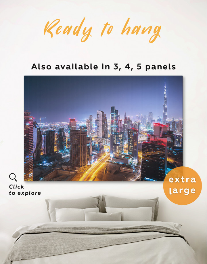 Night Dubai Cityscape View Canvas Wall Art