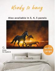 Four Black Running Horses Canvas Wall Art