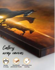 Four Black Running Horses Canvas Wall Art - Image 3