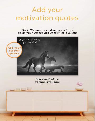 Four Black Running Horses Canvas Wall Art - image 1