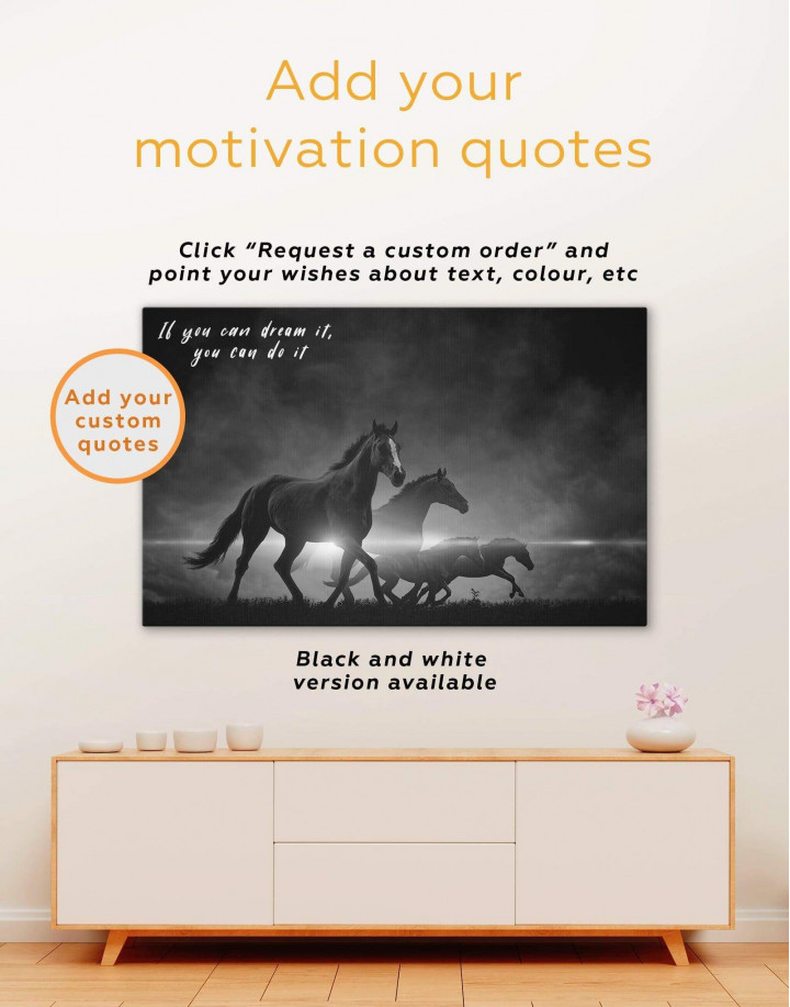 Four Black Running Horses Canvas Wall Art - Image 1