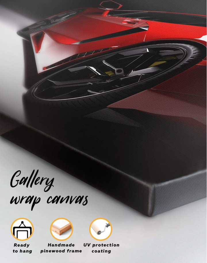 Red Lamborghini Canvas Wall Art - Image 1