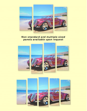 Red Hotrod Car Canvas Wall Art - image 2