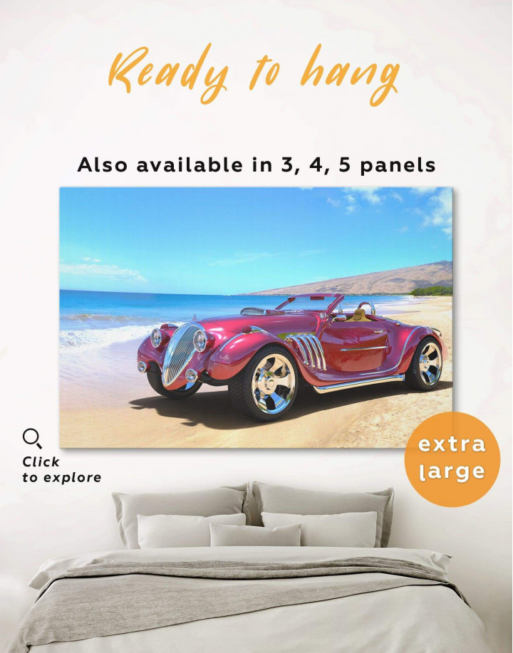 Red Hotrod Car Canvas Wall Art - Image 0
