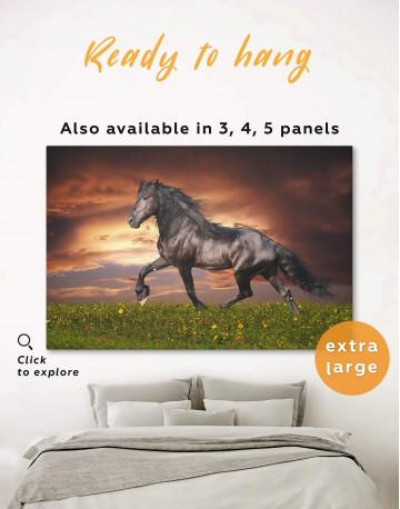 Running Black Horse Canvas Wall Art