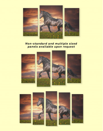 Running Black Horse Canvas Wall Art - image 3