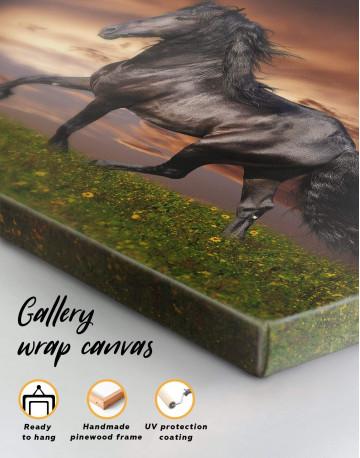 Running Black Horse Canvas Wall Art - image 5