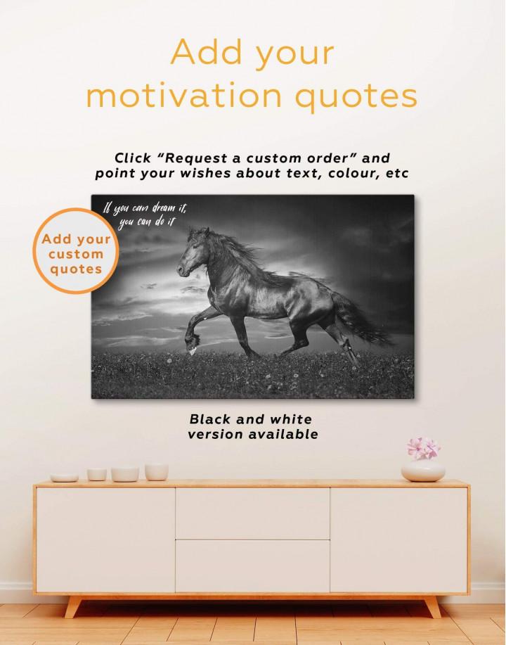 Running Black Horse Canvas Wall Art - Image 2