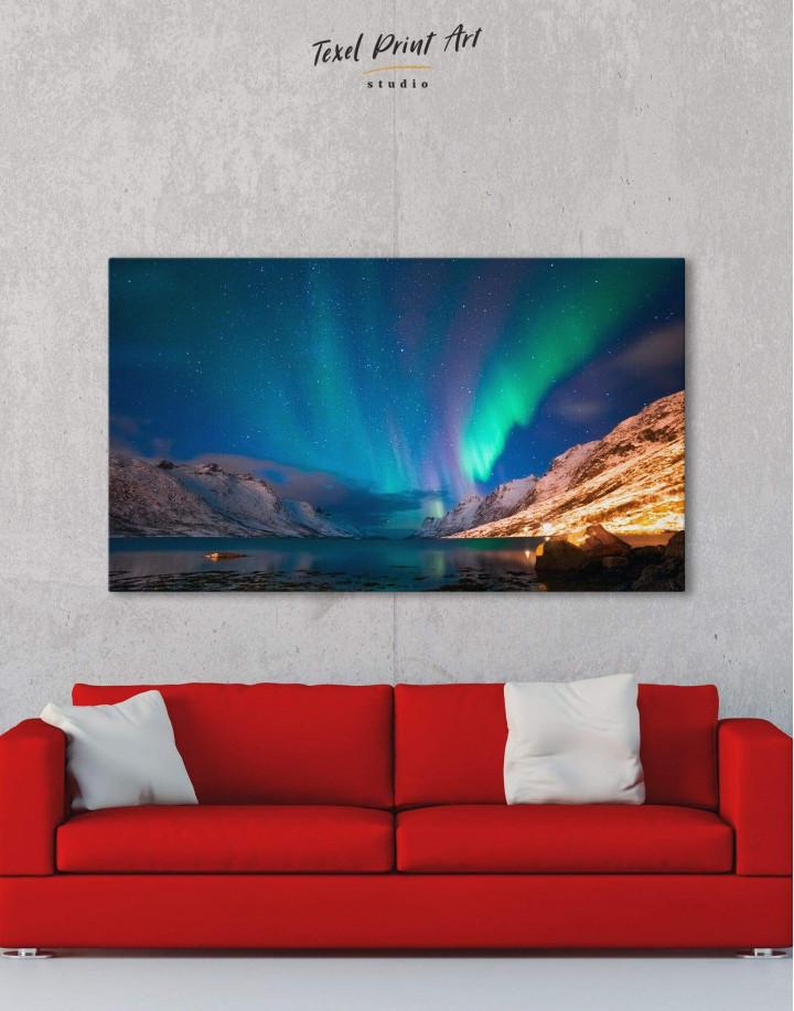 Nordic Northern Lights Scene Canvas Wall Art - Image 1