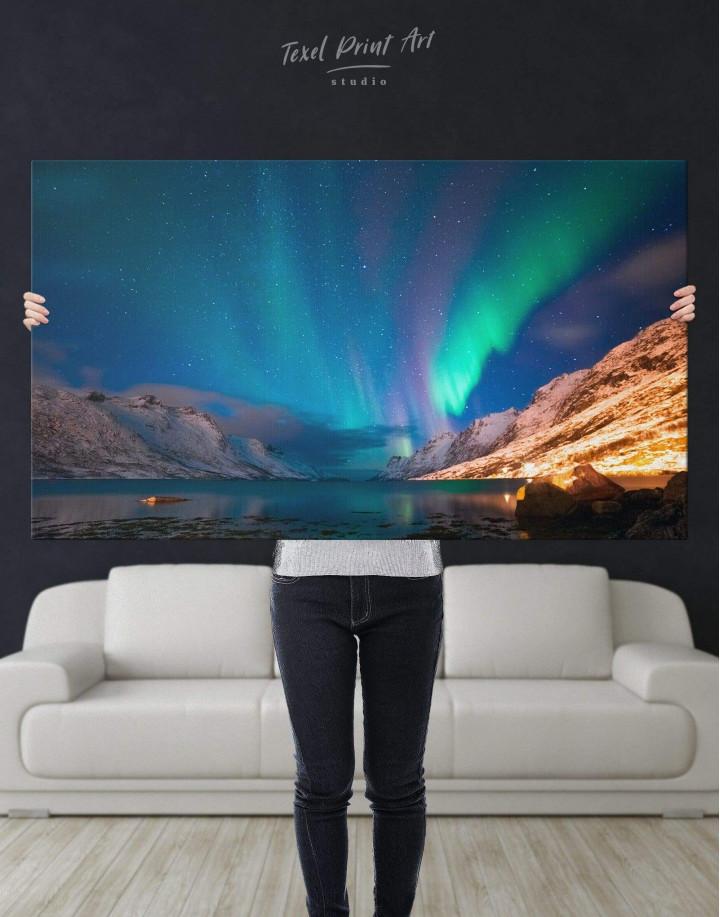 Nordic Northern Lights Scene Canvas Wall Art - Image 2