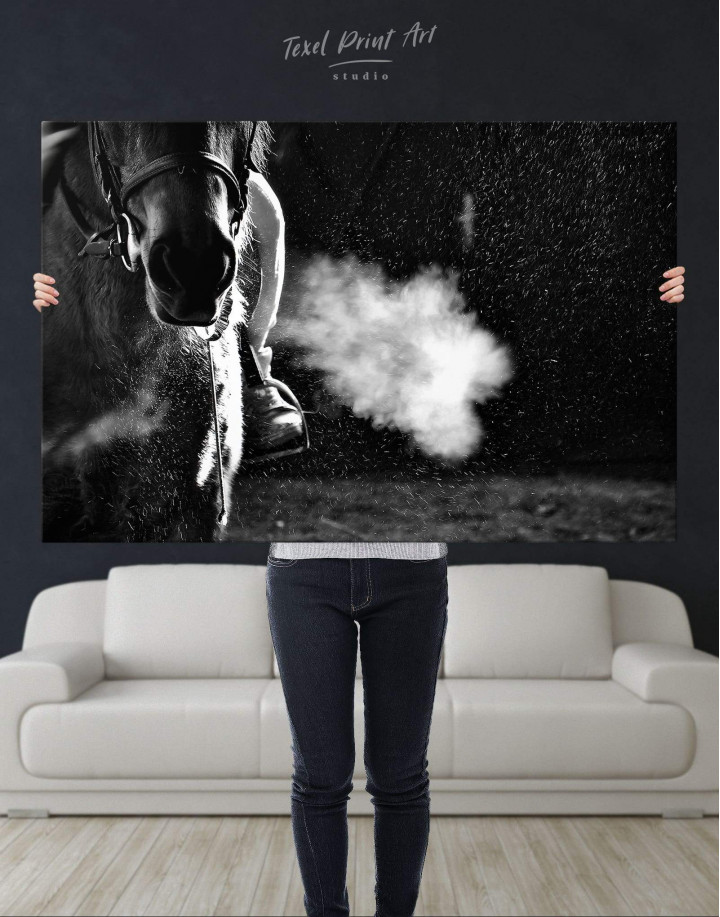 Black and White Horse Canvas Wall Art - Image 4