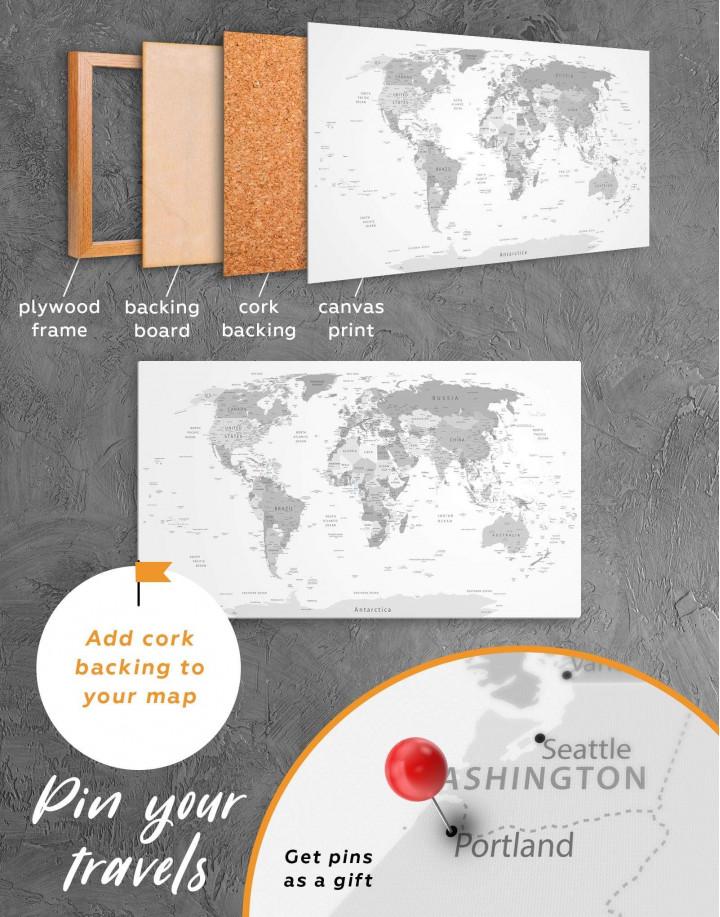 Light Grey Pushpin World Map Canvas Wall Art - Image 5