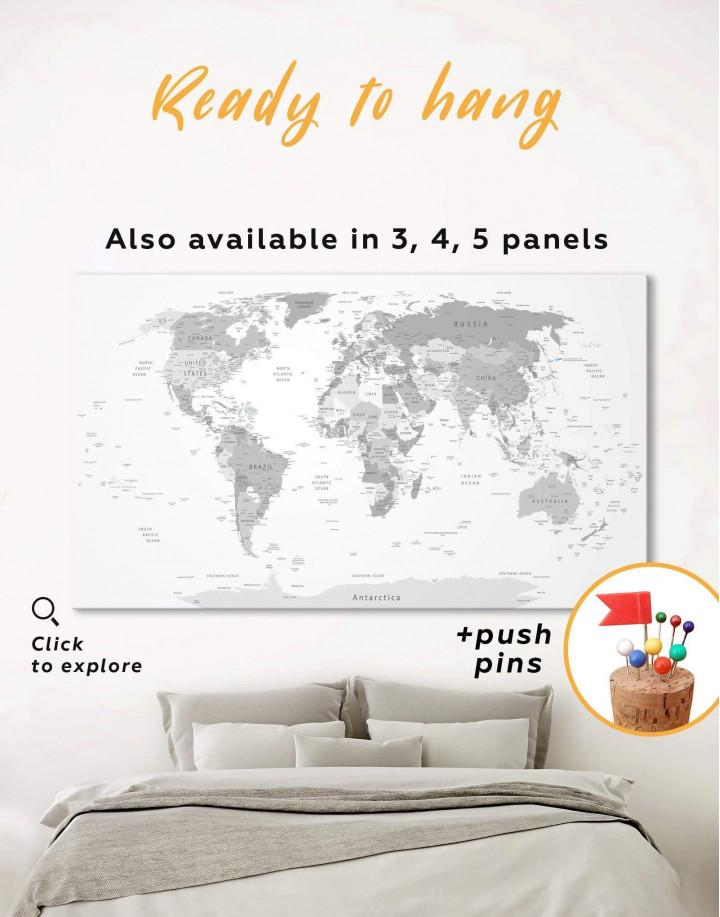 Light Grey Pushpin World Map Canvas Wall Art - Image 0
