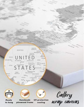 Light Grey Pushpin World Map Canvas Wall Art - image 1