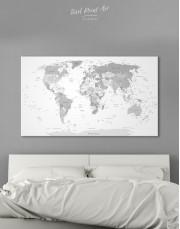 Light Grey Pushpin World Map Canvas Wall Art - Image 6