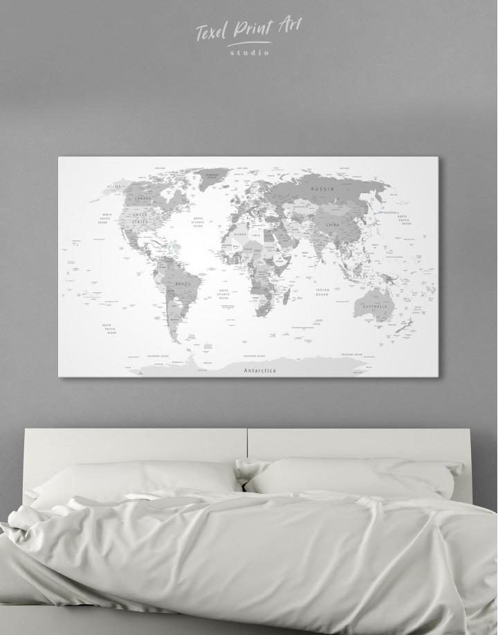 Light Grey Pushpin World Map Canvas Wall Art - Image 2