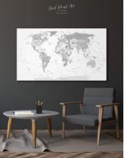 Light Grey Pushpin World Map Canvas Wall Art - Image 7