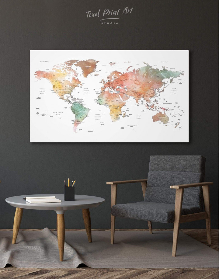 Brown Watercolor Push Pin World Map Canvas Wall Art - Image 6