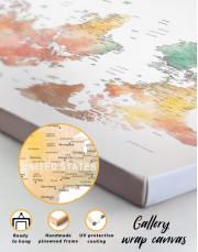 Brown Watercolor Push Pin World Map Canvas Wall Art - Image 6