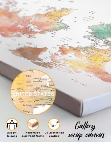 Brown Watercolor Push Pin World Map Canvas Wall Art - image 1