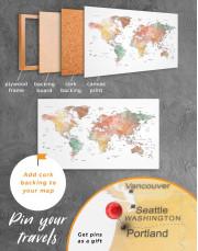 Brown Watercolor Push Pin World Map Canvas Wall Art - Image 4